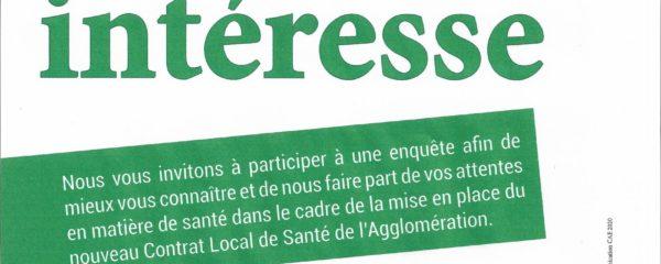 Votre avis nous intéresse: contrat local de santé de l'agglomération