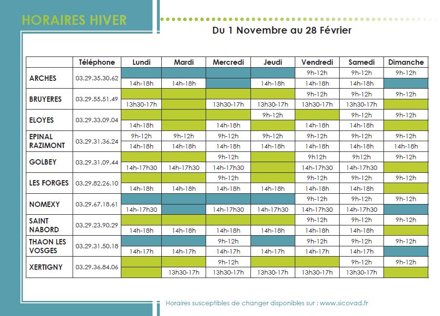 horaires decheteries hiver