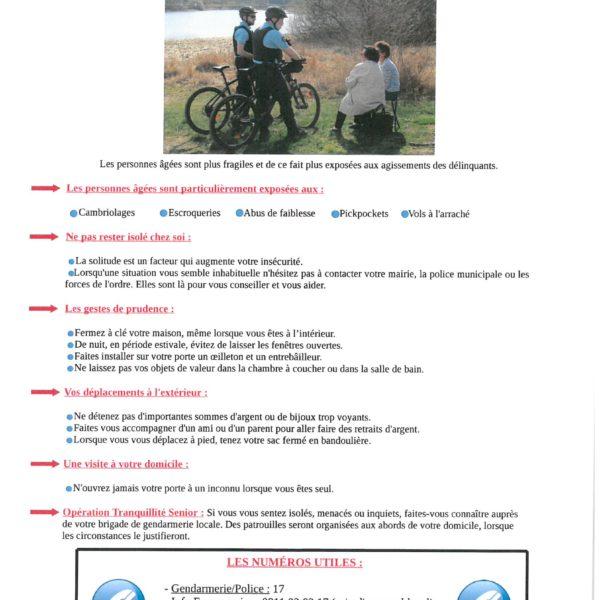 Information de la gendarmerie