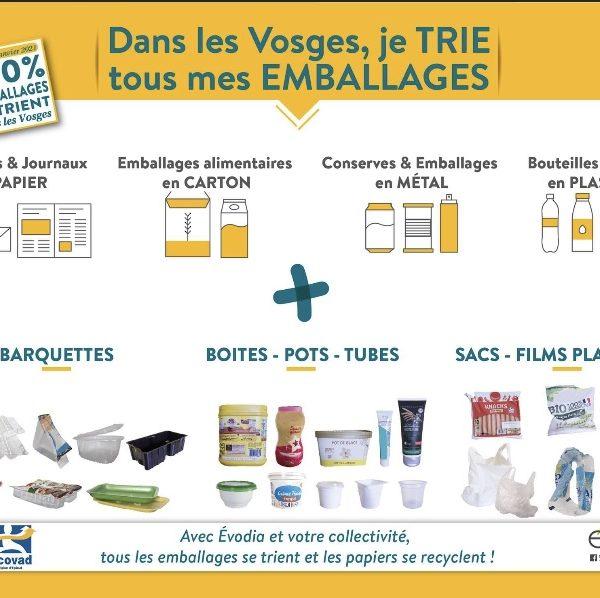 Dans les Vosges, désormais, on trie tous les emballages !