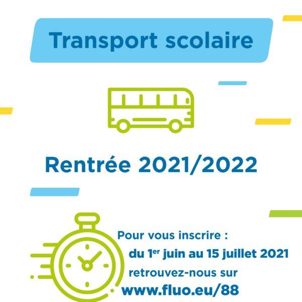 Inscription transports scolaires rentrée 2021-2022 : attention date butoir le 15 juillet 2021 !